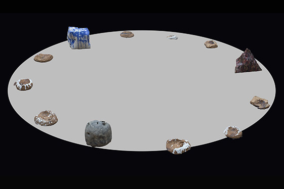 círculo de objetos de cerámica